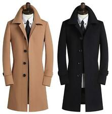 British Mens Retro Slim Fit Business Wool Coat Formal Jacket Trench Coats S-5XL