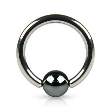 Surgical Steel Captive Ring w/ Hematite Plated Bead