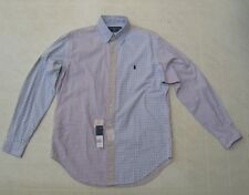Polo Ralph Lauren Mens Shirt ColorBlock Button Down White Black Golden Navy Pony