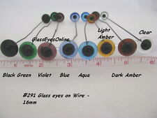 1 PAIR 14mm to 24mm Glass Eyes on Wire Dolls, Teddy Bears, Needle Felting 201
