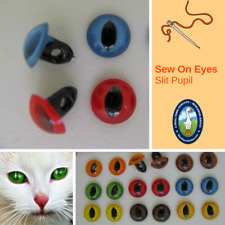 14 PAIR 5mm to 8mm Mix Color SLIT PUPIL Sew On Plastic Safety EYES ( SSPE-1 )