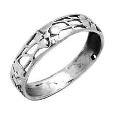 Sterling Silver High Polish Filigree Simple Flower Band Ring