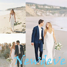 White Ivory Beach Wedding Dress Spaghetti Lace Chiffon Bridal Gown Custom 2-16