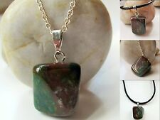 Agate Gemstone Pendant Boho Necklace 925 Sterling Silver or Real Leather  Cord
