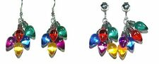 BRIGHT COLORED CHRISTMAS LIGHTS PIERCED or CLIP ON EARRINGS - 2 STYLES