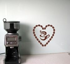 Coffee bean heart and mug love vinyl wall sticker decal kitchen cafe dining room