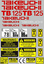 Decal Sticker set for: Takeuchi TB125  Mini Digger Pelle Bagger Excavator