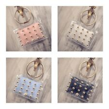Womens Girls Fashion Rivet Jelly Transparent Satchel Summer Tote Bag Handbag H