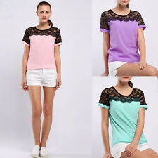 Womens Summer Lace Stitching Top Short Sleeve T Shirt Loose Blouse Tops CA