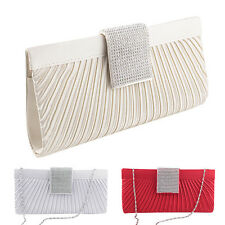 Pleated Satin Clutch Bag Ladies Bridal Evening Party Handbag Chain Purse Wallets