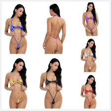 Women Sexy Leather Halter One Piece Bikini Teddy Bodysuit Leotard Thong Monokini