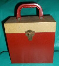 "VINTAGE 1950s/60's 7"" 45rpm METAL RECORD CARRY CASE HOLDER STORAGE W/INDEX CARDS"