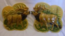 VINTAGE PAIR OF *ELK* WALL PLAQUES~OLD CHALKWARE~W/RELIEF~MAN CAVE~HUNTING!