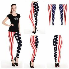 WOMENS LADIES AMERICAN FLAG STARS & STRIPE PRINT STRETCH LEGGINGS PLUS SIZE 8-26