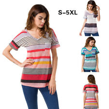 Women Striped Casual T Shirt Short Sleeve V Neck Top Loose Blouse Plus Size 6-22