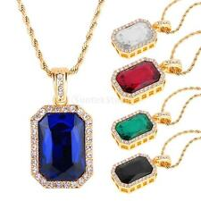 Mens Gold Plated Chain Iced Out Ruby Octagon Pendant Hip-Hop Fashion Necklace