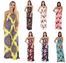 Womens Ladies Bandeau Boobtube Sheering Gather Floral Print Summer Maxi Dress