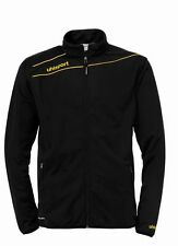 Uhlsport Mens Stream 3.0 Football Sports Zip Jacket Tracksuit Top Black Yellow