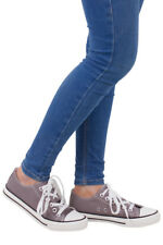 Womens Ladies Grey Tie Up Canvas Style Pump Flat Shoe Casual New Size Plimsole