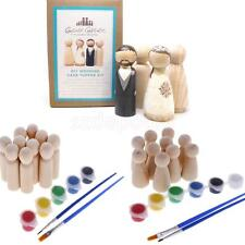 10pcs/Set Blank Wooden Peg Dolls Hand Painting DIY Craft Wedding Favors