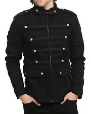 Mens Gothic SteamPunk Jacket Black Gothic Military Band Jacket Goth Vintage Coat