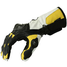 Motorcycle Gloves Leather motorcycle gloves Biker Leather gloves Blue/White-2XL
