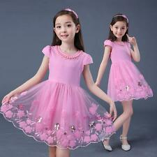 New Summer Kids Young Girls Sweet Flower Princess Cotton Lace Party Dress 4-14Y