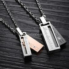 Fashion Women Men Couple Titanium Stainless Steel Lovers Cubic Pendant Necklace