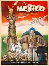 """Mexico  Vintage Illustrated Travel Poster Print on canvas 36"""""""