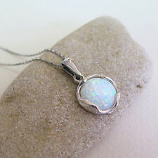 Adita 925 Sterling Silver White Opal Necklace | HANDMADE Gemstone Necklace