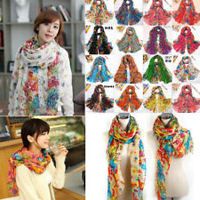 Fashion Long Cotton Voile Floral Shawl Scarf Wrap Stole For Girls/Lady 19 colors