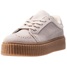 Cardouno Brogue Creeper Womens Trainers Beige New Shoes