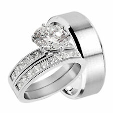 His and Her CZ Wedding Ring Set His Stainless Steel Hers Sterling Silver