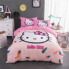 5pc. Hello Kitty Pink Feather 500TC 100% Cotton Duvet Cover Comforter Bed Set