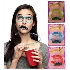 Silly Straw Mustache Drinking Glasses Funny Party Toy Birthday Piped Glasses