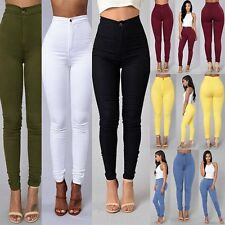 Womens Candy Color Pencil Pants High Waist Stretch Skinny Slim Ladies Trousers
