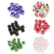 50pcs 6mm Cube Crystal Beads Glass Crystal Spacer Beads for DIY Craft Making