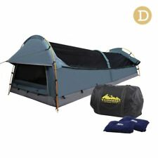 Double Canvas Camping Swag Tent Navy w/ Air Pillow