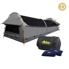 Double Camping Canvas Swag Tent Grey w/ Air Pillow