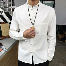 Chinese Style Men Long Sleeve Loose Stand Collar Cotton Linen Blend Shirts M-5XL