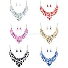 Full Crystal Wedding Bridal Bridesmaids Crystal Necklace Earring Jewelry Set