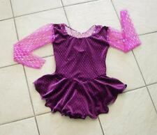 NEW VIOLET Pink GLITTERY VELVET Chiffon Competition Figure ICE SKATING Dress