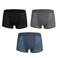 Mens Comfy Underwear Lingerie Ice Silk Boxer Briefs Shorts Underpants Swimwear