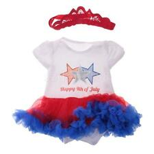 Happy 4th of July USA Cotton Romper Baby Girls Dress Body Suit with Headband