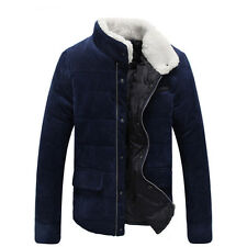Mens Stand Collar Warm Winter Coat Slim Fit Zipper Cotton Jacket Short Outwear