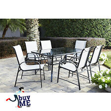 7 Piece Garden Dining Set Outdoor Patio Table and Chairs Umbrella Furniture