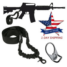 Single Point Rifle Sling + Adapter Plate Mount AR 15 M4 M16 Tactical Bungee USA