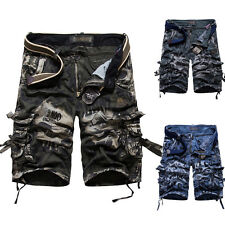 Mens Casual Slim Fit Cotton Pockets Cargo Shorts Short Pants Trousers Camo Army