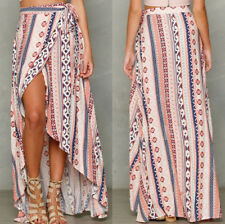Sexy Women Beach Floral Printed Asymmetric Hem Wraps Split Long Dress Skirts