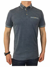Mens Ted Baker Oxford Flat Knit Collar Polo Shirt in Navy Large